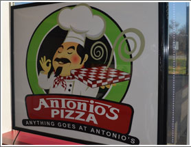 Picture of Antonio's logo on their pizza box